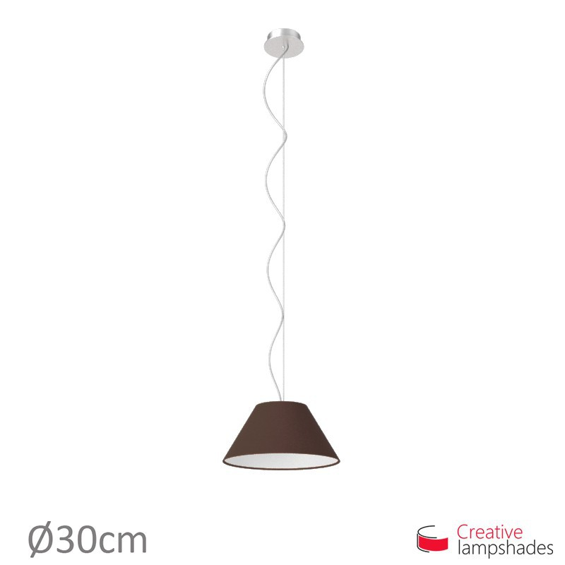 Chinese lampshade with Brown Canvas covering