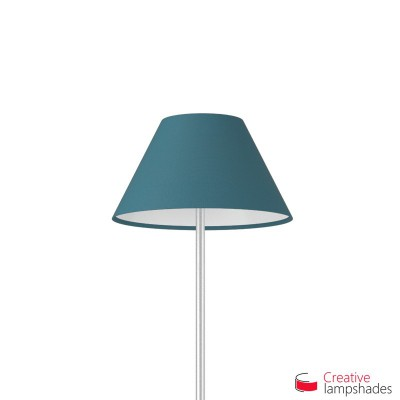 Chinese lampshade with Blue Cinette covering