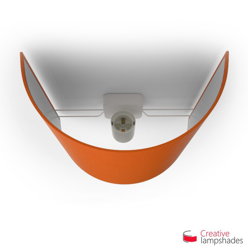 Half Cylinder Wall Lampshade Orange Canvas covering with  box