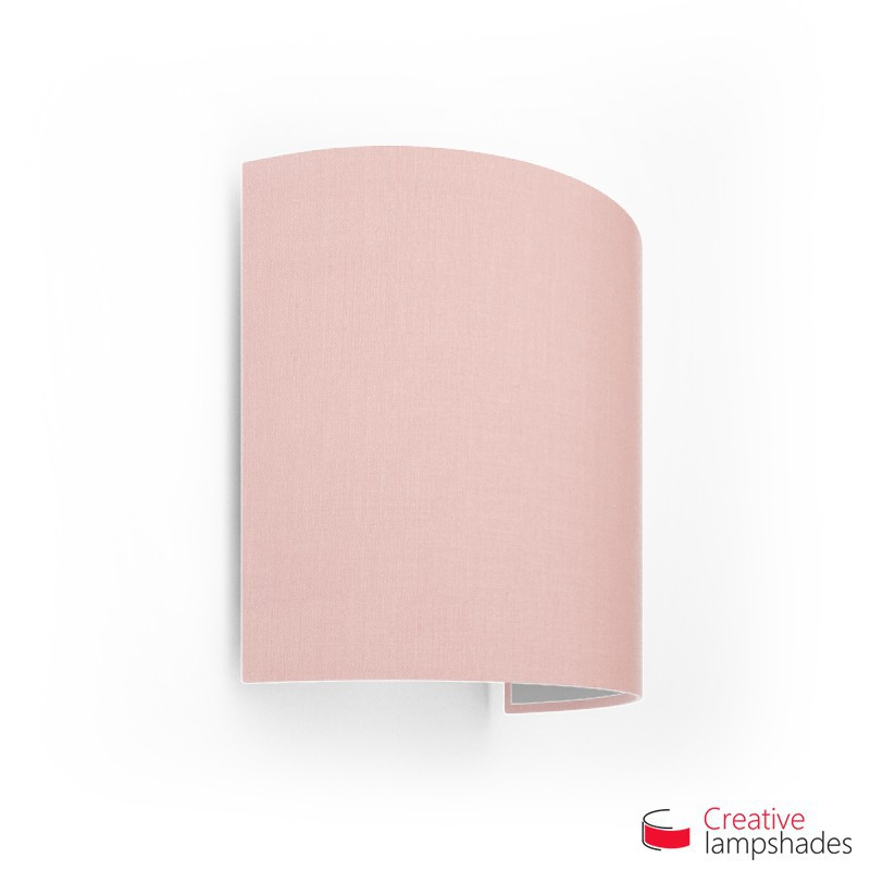 Half Cylinder Wall Lampshade Pink Canvas covering with  box