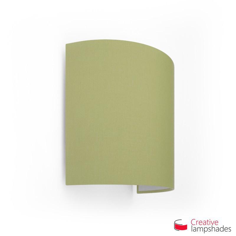 Wand Lampenschirm Zylinder halbrund ink Anschlussdose (Aufputz) olivegrün Leinwand Bezug