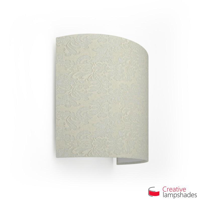 Wand Lampenschirm Zylinder halbrund ink Anschlussdose (Aufputz) weiß Palmenblatt Bezug