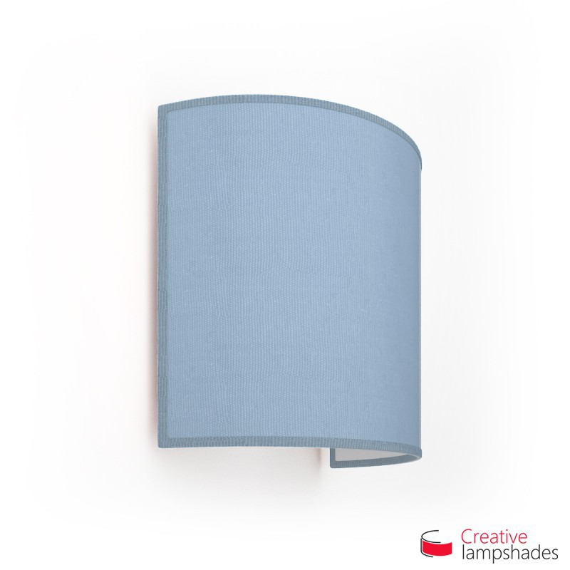 Half Cylinder Wall Lampshade Heavenly Blue Jute with  box