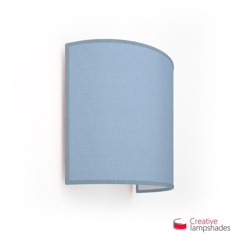 Wand Lampenschirm Zylinder halbrund ink Anschlussdose (Aufputz) taubenblau Jute Bezug