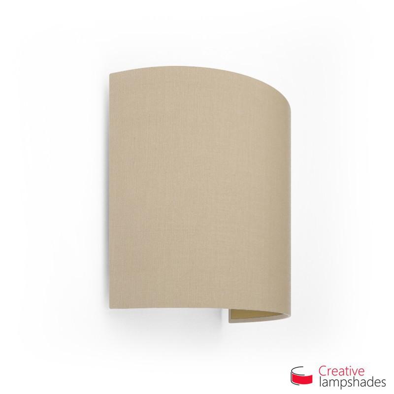 Pantalla con aplique de pared cilíndrica con caja eléctrica recubrimiento Tela Avellana Int. Oro