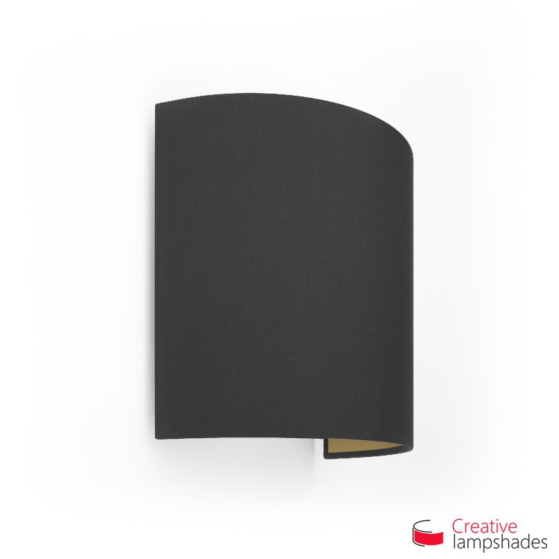Half Cylinder Wall Lampshade Black Canvas Golden Inward with  box