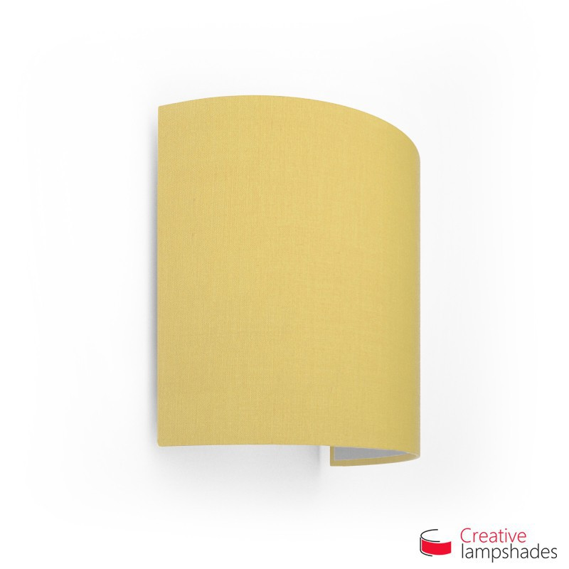 Half Cylinder Wall Lampshade Pale Yellow Canvas covering with  box
