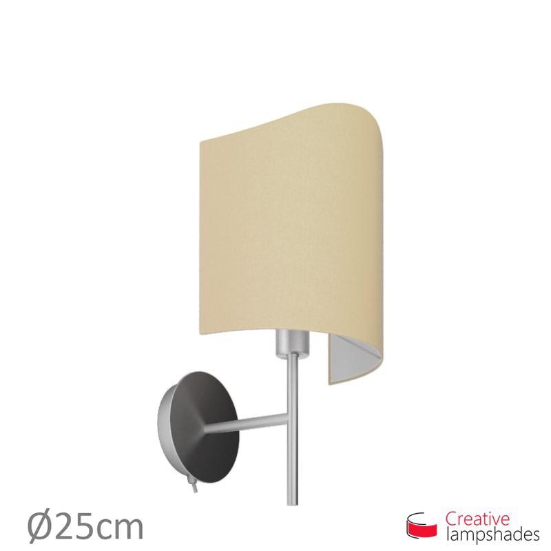 Paralume ventola sagomata per applique a muro rivestimento Teletta Nocciola