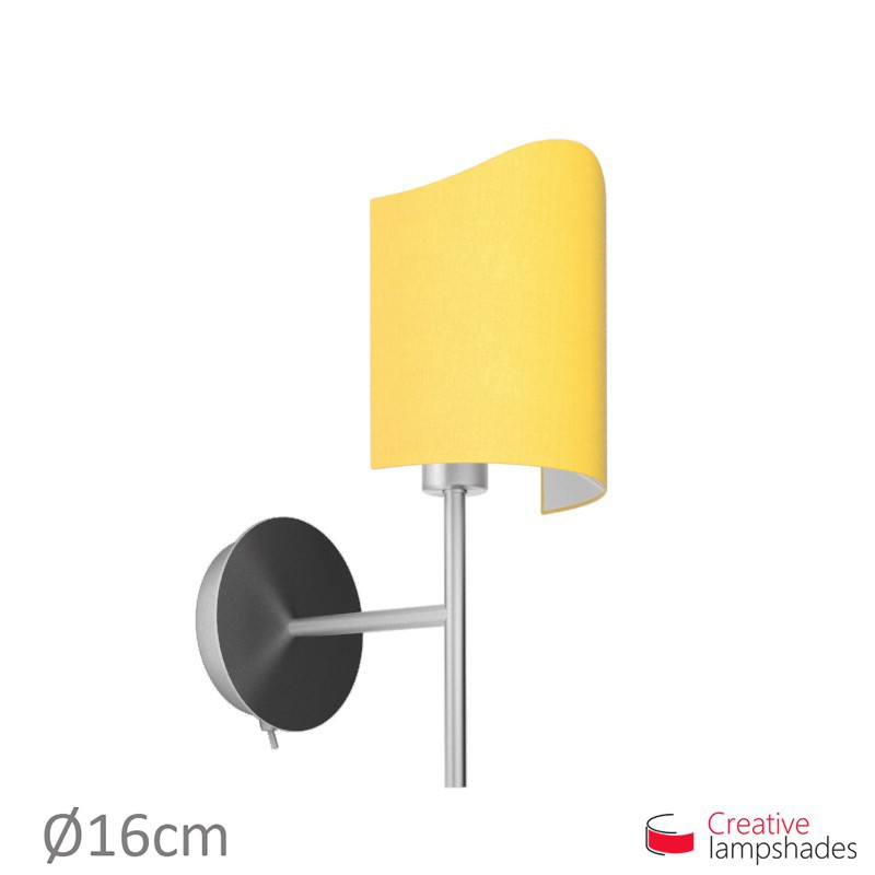 Scallop half cylinder lampshade for wall lamp Golden Yellow Canvas cover
