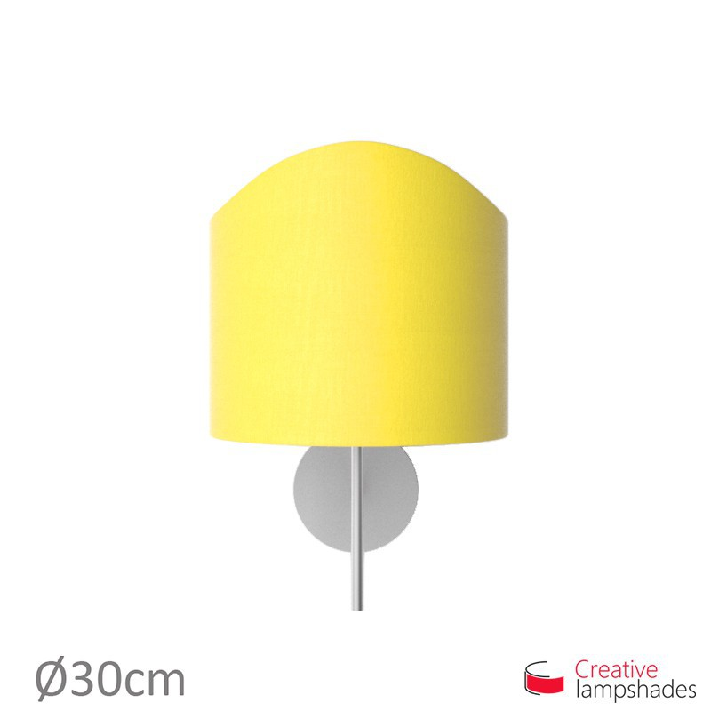 Scallop half cylinder lampshade for wall lamp Bright Yellow Canvas cover