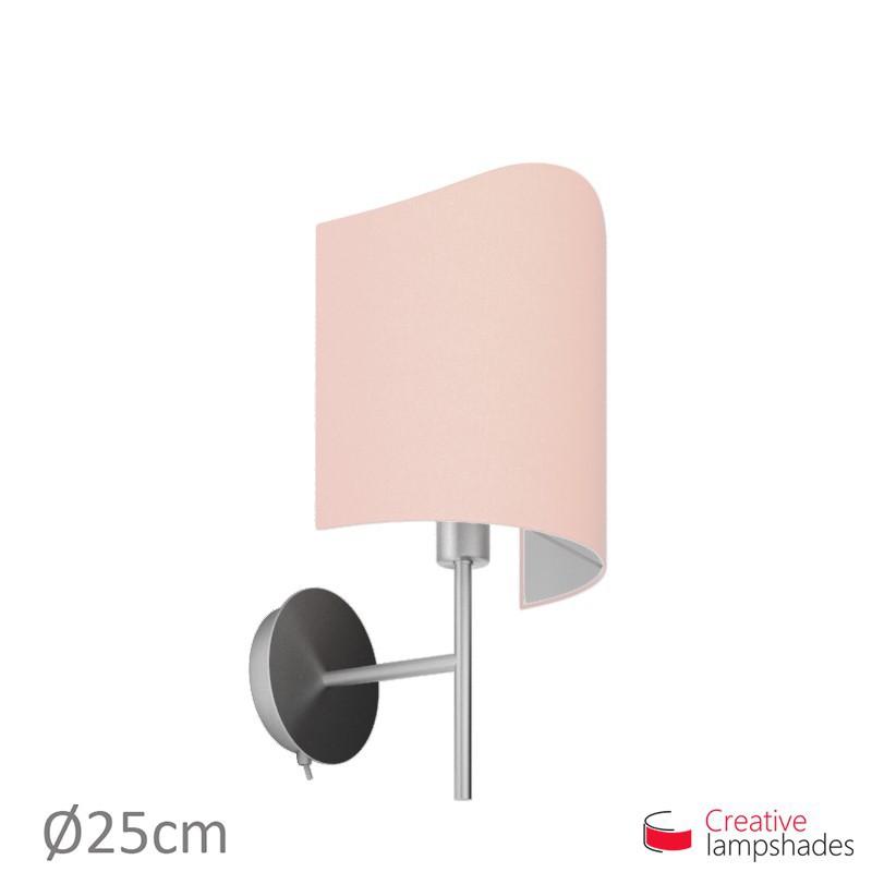 Paralume ventola sagomata per applique a muro rivestimento Teletta Rosa