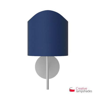 Scallop half cylinder lampshade for wall lamp Blue Canvas cover