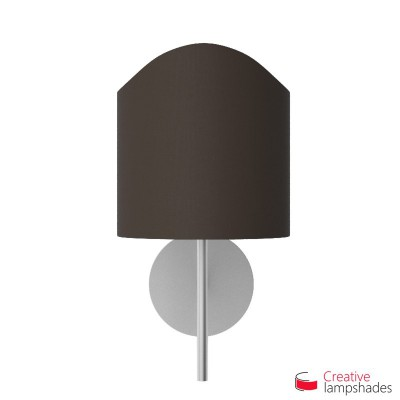 Scallop half cylinder lampshade for wall lamp Brown Canvas covering