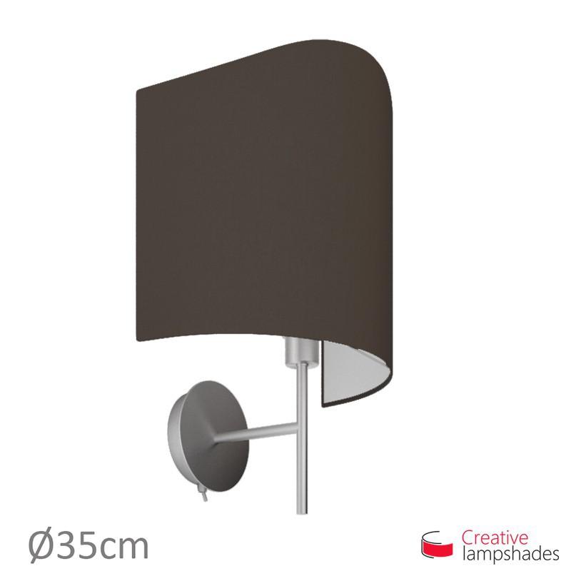 Paralume ventola sagomata per applique a muro rivestimento Teletta Marrone
