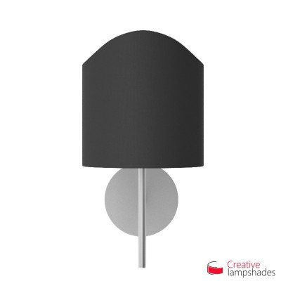Scallop half cylinder lampshade for wall lamp Black Canvas covering