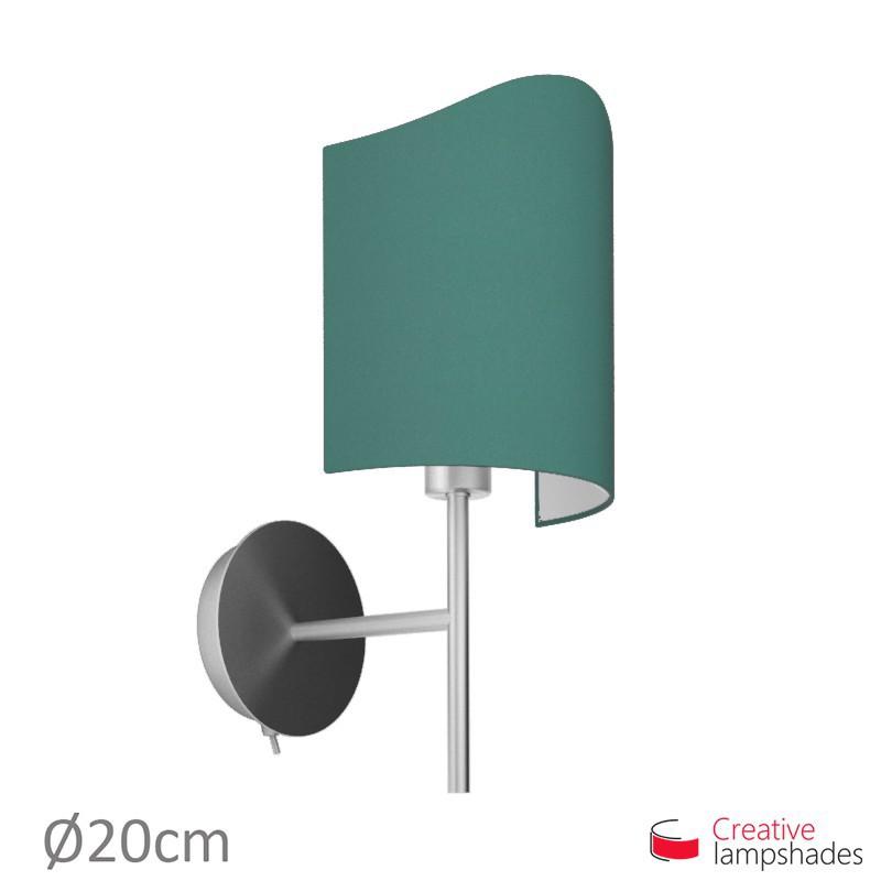 Paralume ventola sagomata per applique a muro rivestimento Cinette Petrolio